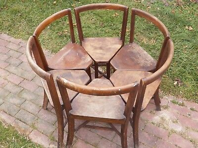SIX Antique wedge chairs Nesting circle design Seatmore PA. 1900