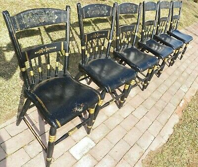 Decorated Black Painted Set Of 6 Plank  Seat Chairs Farmhouse 1/2 Spindle Back