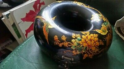 Vintage Oriental Black Lacquered Chinese  Doughnut Donut Necklace  Box