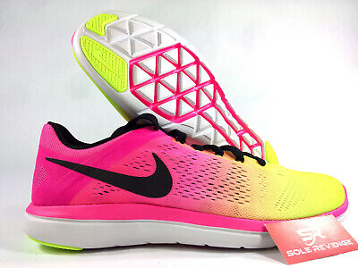 9.5 NIKE FLEX 2016 RN OC 844737 999 Pink Yellow White Olympic Running Shoes