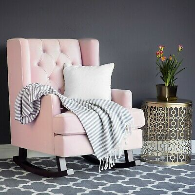 Tufted Upholstered Rocking Accent Chair Rocker Wood Frame Nursery Bedroom Pink