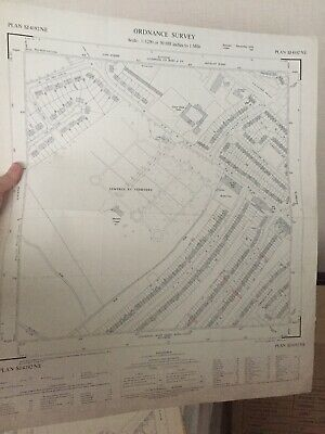 Genuine Authentic Ordnance Map Of Yew Tree Cemetry Liverpool 1958