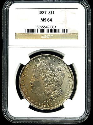 1887 $1 Morgan Silver Dollar MS64 NGC 3855549-083