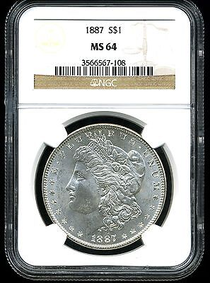 1887 $1 Morgan Silver Dollar MS64 NGC 3566567-108