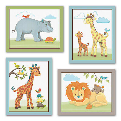 Giraffe Safari Jungle Animals Elephant Nursery Kids Baby Wall Art Bedroom Decor