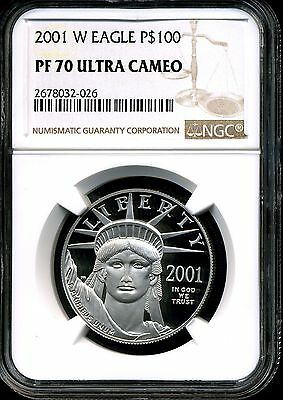 2001-W P$100 Proof Platinum 1 oz American Eagle PF70 Ultra Cameo NGC 2678032-026
