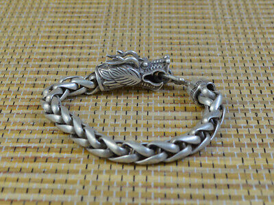 62g 23cm Decent Unique China Silver Hand Carving Dragon Statue Bracelet Gift