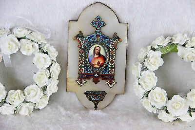 Antique French enamel Cloisonne Champleve saint jesus porcelain holy water font