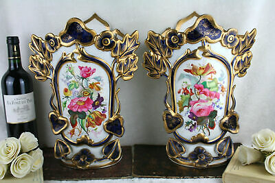 PAIR 19thC old Bayeux Paris porcelain floral hand paint decor French Vases