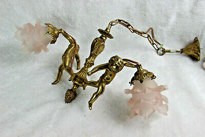 Antique French brass 2 putti cherub arms chandelier pendant pink glass shade