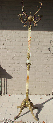 Ornate Antique Brass onyx Marble Coat rack hat stand hall 1950 caryatids base