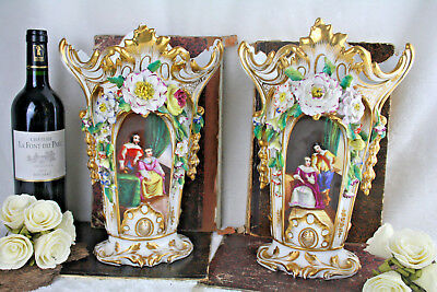 French antique PAIR porcelain Vases vieux petit porcelain Manner jacob petit