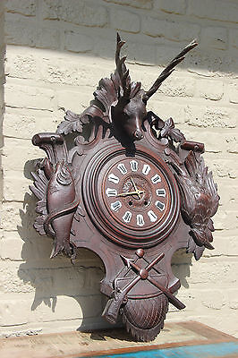 antique German 1900 Black forest wood carved Wall clock hunting trophy fish bird