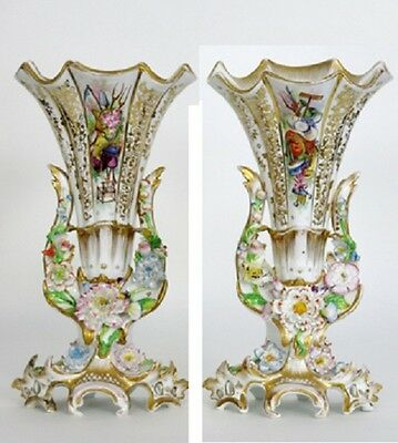 PAIR VIEUX paris porcelain 19thc French Vases Majolica flowers Attr. jacob petit