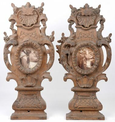 Rare PAIR antique French baroque Wood carved relic picture holders wall stand