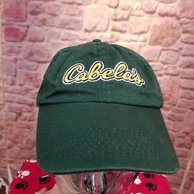 b079bce7c CABELA'S DARK GREEN Yellow Embroidered Strapback Hunter Trucker Dad ...