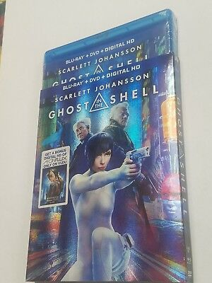 Ghost in the Shell (Blu-ray Disc + DVD + Digital HD, 2017) NEW with slip cover.