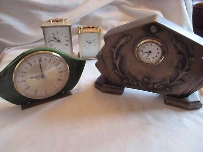 Vintage Carriage & Mantel Clocks 2 unusual clocks for spares or repair Bundle