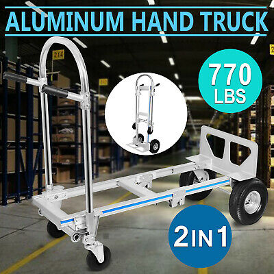 2 in 1 Aluminum Hand Truck / Dolly Utility Cart Heavy Duty 770Lbs capacity New