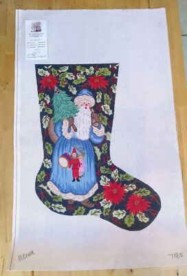Alexa Blue Santa  Christmas Stocking HP Needlepoint canvas