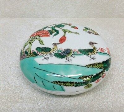 Antique Chinese Famille Verte Porcelain Seal Paste Box 19th Century