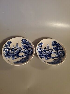 Nasco Hand Painted Lakeview Small Plates Japan Blue White