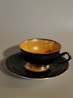 Winterling Bavaria Black with Gold Interior Tea Cup and Saucer