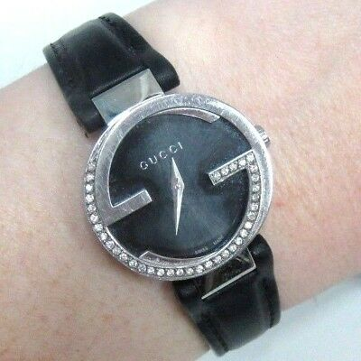 6517393dce3  2500 Gucci Women s YA133501 Interlocking-G Diamond Watch w  Leather Band  133.5