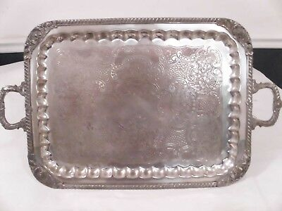 Antique Sheridan Silver on Copper Vintage Large Handled  Serving Platter