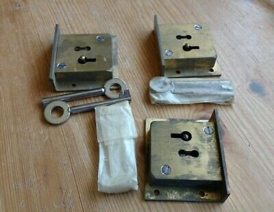 3 Vintage Brass 4 Lever Cupboard Cabinet Lock With 2 Keys Each : New Old Stock