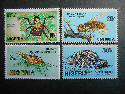 Nigeria 1986 Nigerian Insects SG 528-531 MNH Goliath Beetle, Wasp, Carpet Beetle