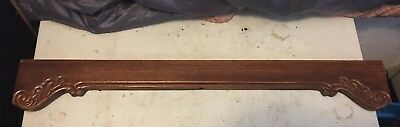 """Wood Architectural Salvage Carved Mahogany Pediment Repurpose 31.5"""" X 4.5"""" (A)"""