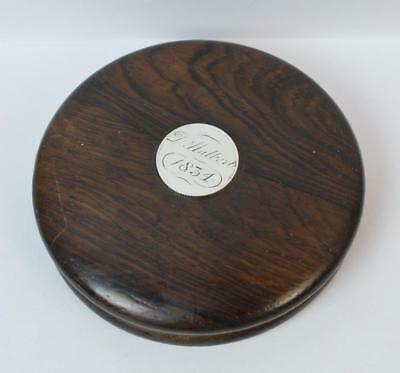 1834 William IV Solid Silver & Rosewood Circular Box