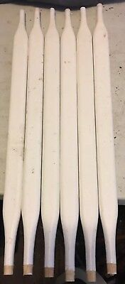 6 Architectural Furniture Salvage Flat Dowel Wood Chair Spindles White 19 1/8""