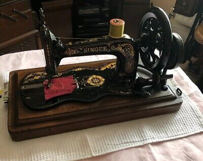 Antique Singer 12k Fiddle Base Sewing Machine With Case c1883