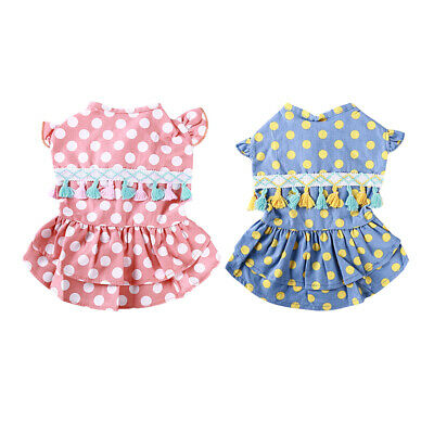 Summer Dotted Printed Dress Puppy Pet Puppy Dress Colorful Skirt Apparel Decor N