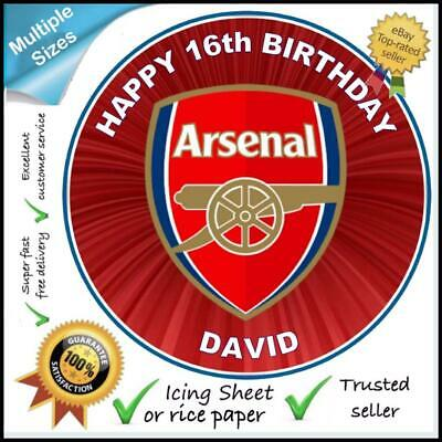 Arsenal Fc, Edible Icing & Wafer Personalised Cake & Cupcake Toppers,multi Sizes