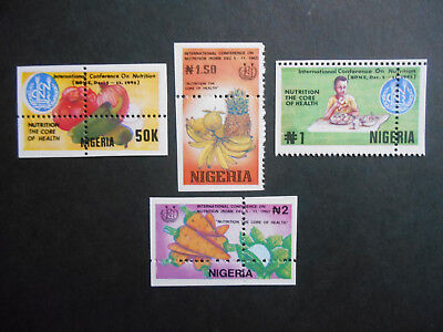 Nigeria 1992 Conference on Nutrition SG 642-5 MNH Misplaced Perforations Errors
