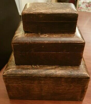 3 Decorative Carved Wooden Boxes