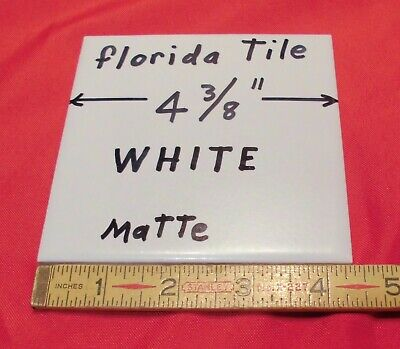 "1 pc. *White* Matte Ceramic Tile 4-3/8"" by Florida Tile Co.  New Old Stock   USA"