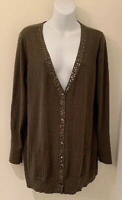 593739c39ea89f Eileen Fisher organic cotton cashmere sequin long cardigan sweater olive XL