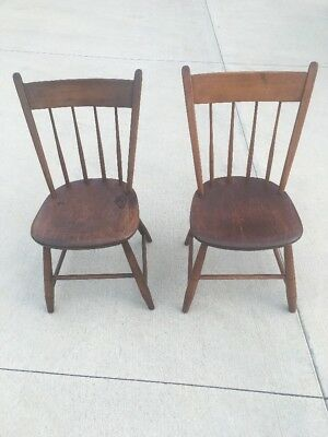 Pair Antique Wood Slat Back Windsor Chairs  Plank Bottom Turned Spindles