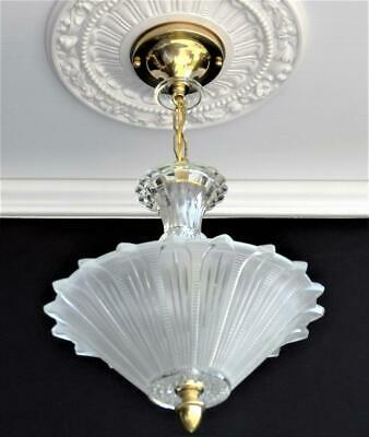 Antique 1930's Art Deco Sunflower Glass Shade Ceiling Light Fixture Chandelier