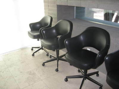 Knoll Saarinen Executive Swivel Arm Chairs/Blk Saddle Leather/Pristine/Auction 2