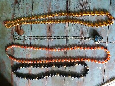 ANTIQUE  vintage lot of  GLASS gold, black beads