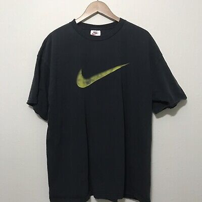 9f3a3d22 Vintage Nike Big Swoosh Logo Graphic T-Shirt Men's Size XL Made In USA Black