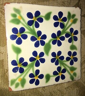 Beautiful Vintage Floral Square Tile 10.8cm Forget-Me-Nots Handpainted