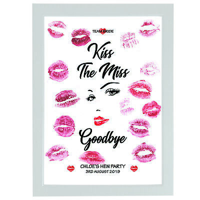 Personalised Kiss The Miss Goodbye Hen Party Accessories Bride Wedding Do Gifts