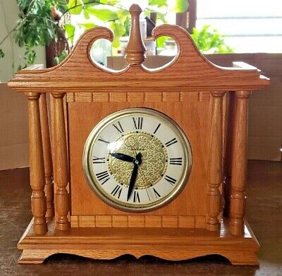 Vintage Lanshire  Wooden Mantle Electric Clock 12'' Tall