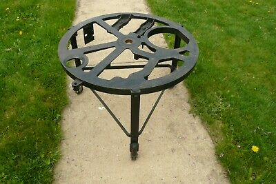 Antique Iron Industrial Round Wheeled Stand Base Salvage Coffee Table Steam Punk